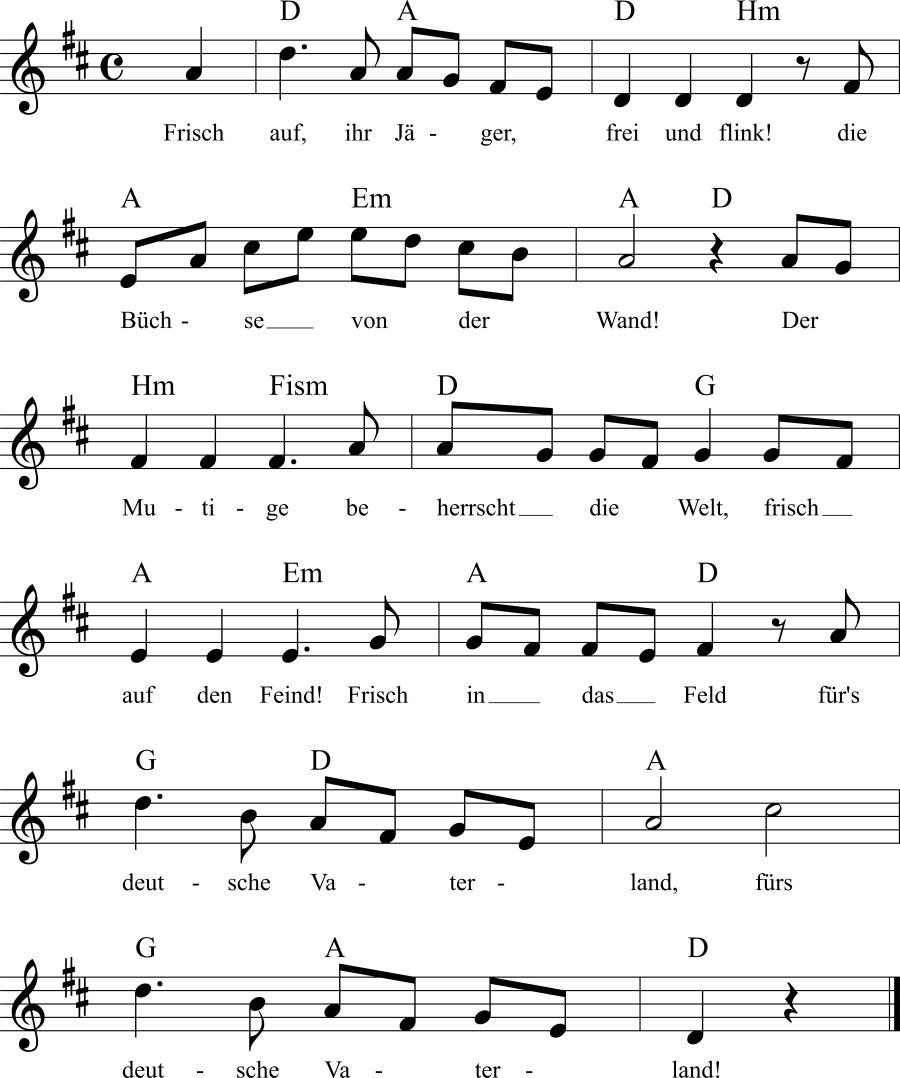 Musiknoten zum Lied Frisch auf, ihr Jäger, frei und flink!