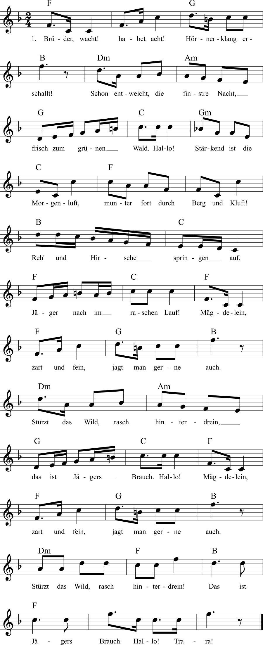 Musiknoten zum Lied Brüder, wacht! Habet acht!