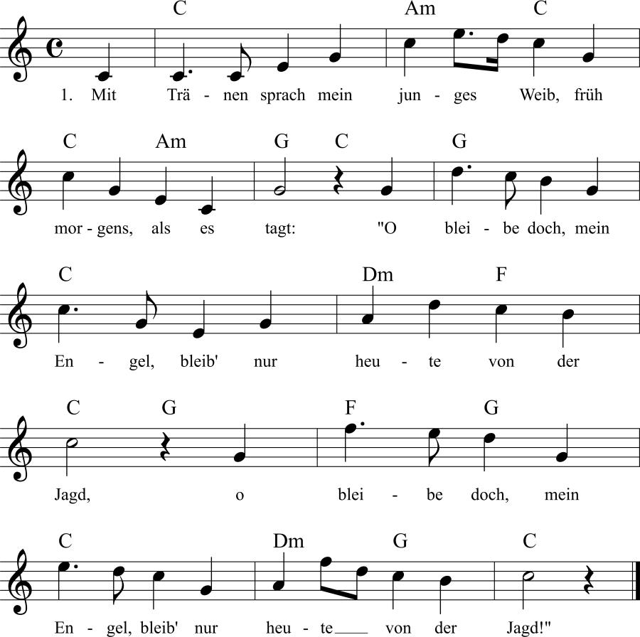 Musiknoten zum Lied Jägerlied