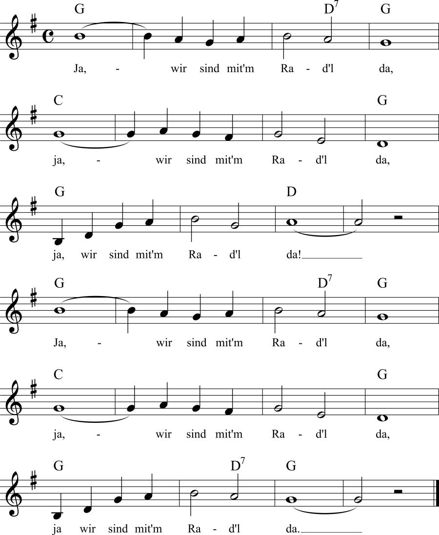 Musiknoten zum Lied Ja, wir sind mit'm Radl da