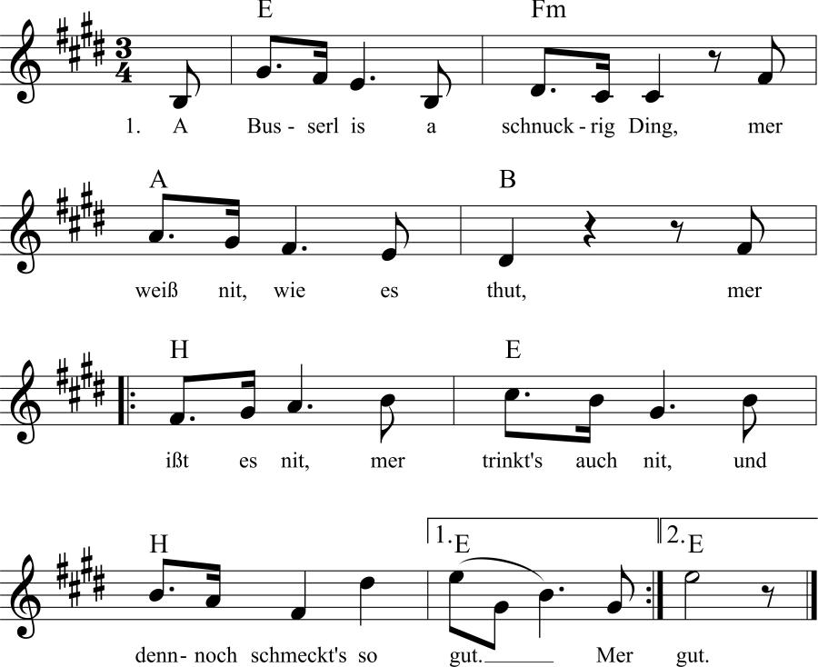 Musiknoten zum Lied Das Busserl