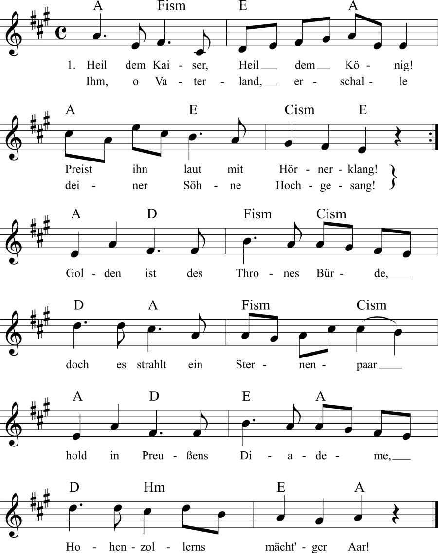 Musiknoten zum Lied Heil dem Kaiser!