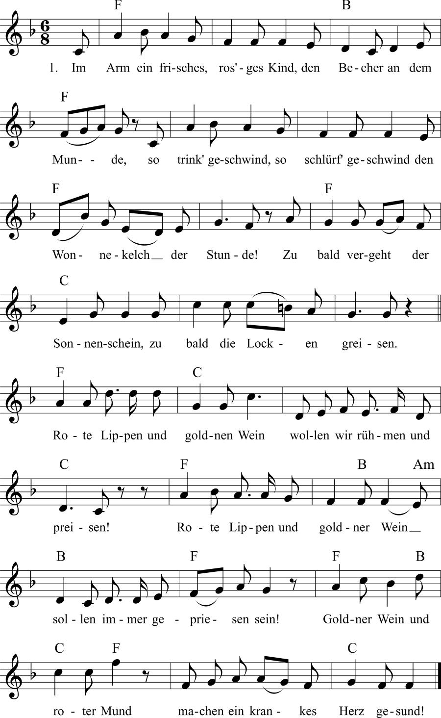 Musiknoten zum Lied Rote Lippen, gold'ner Wein