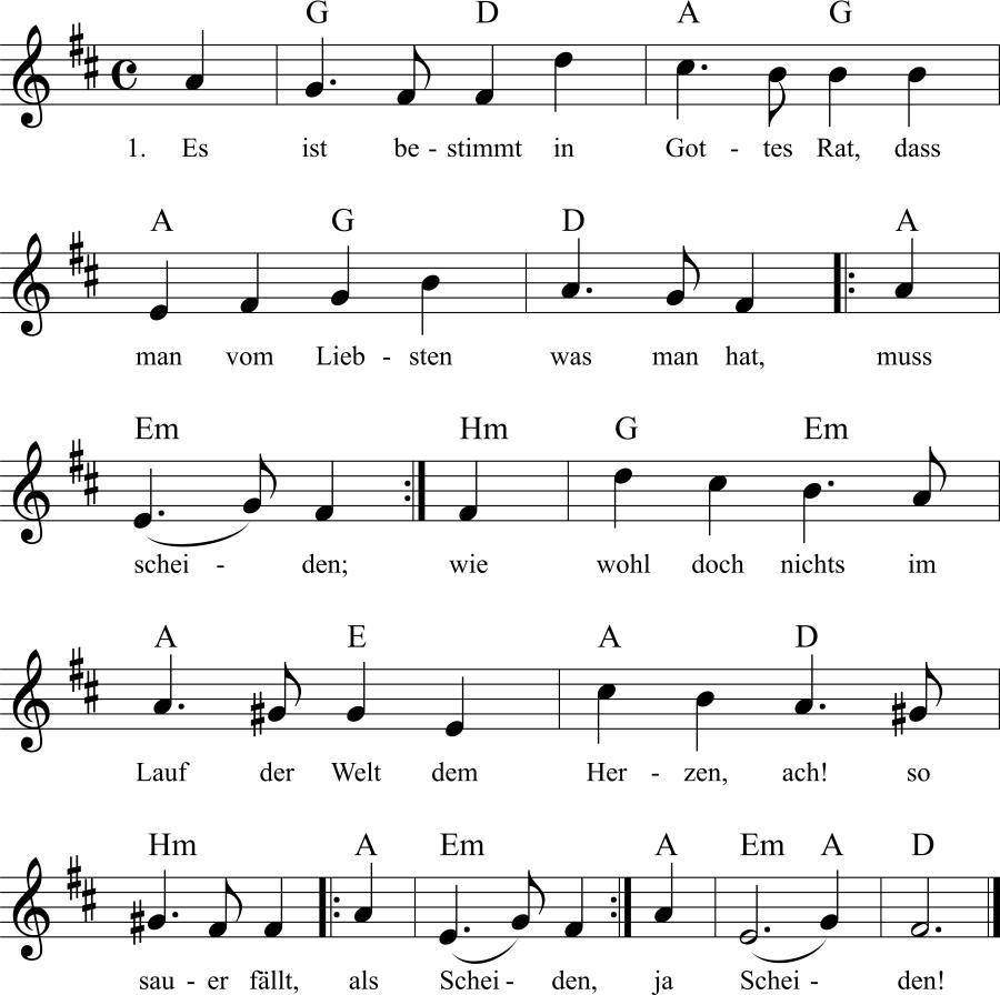Musiknoten zum Lied Es ist bestimmt in Gottes Rat