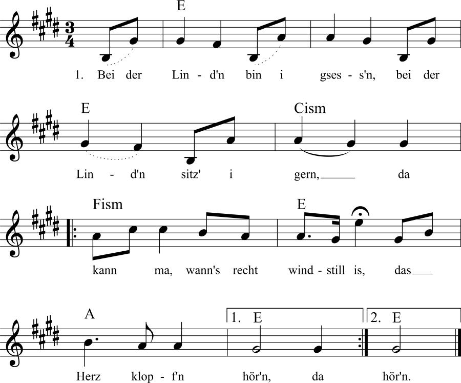 Musiknoten zum Lied Bei der Lindn
