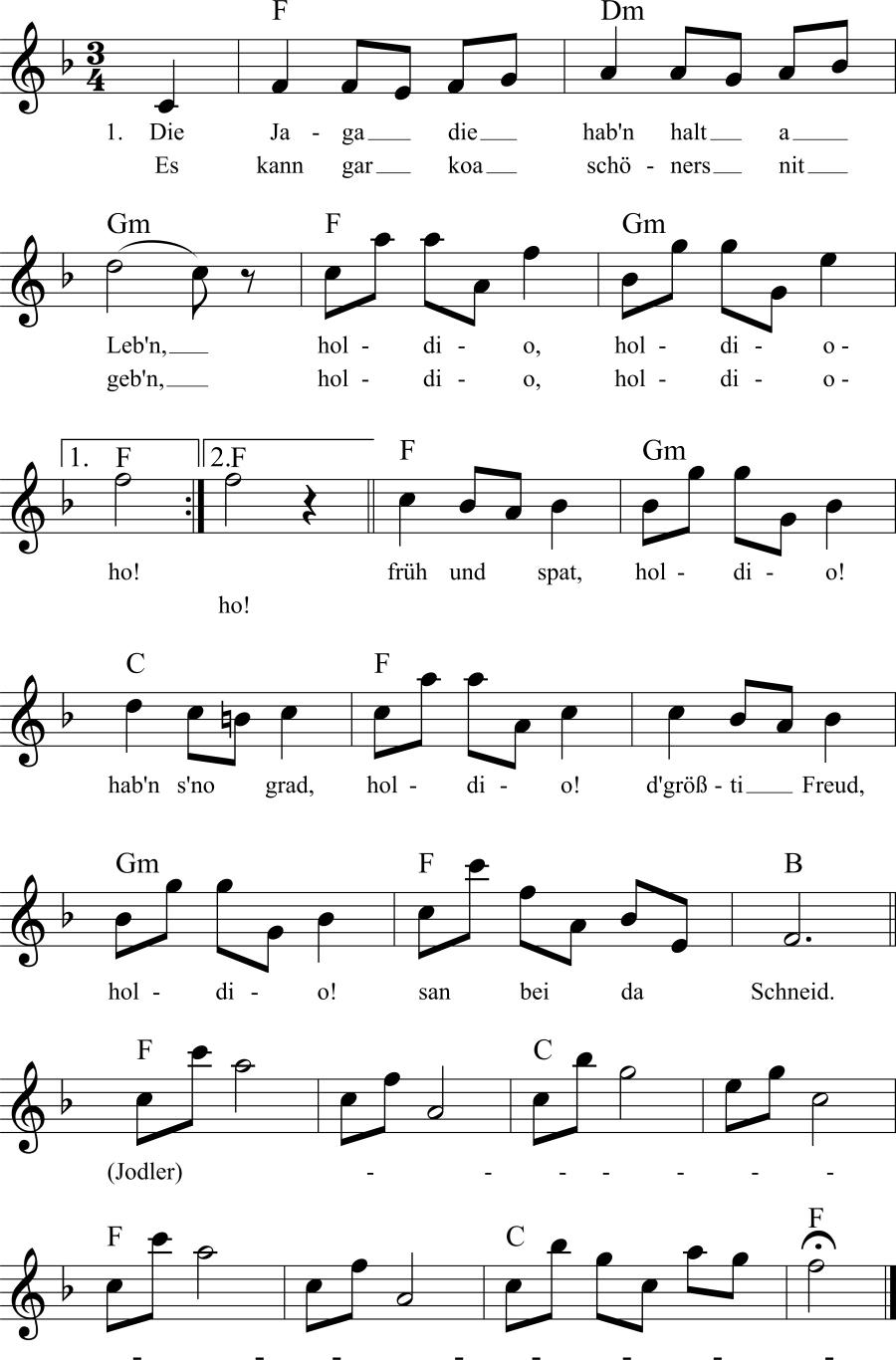 Musiknoten zum Lied Die Jäger