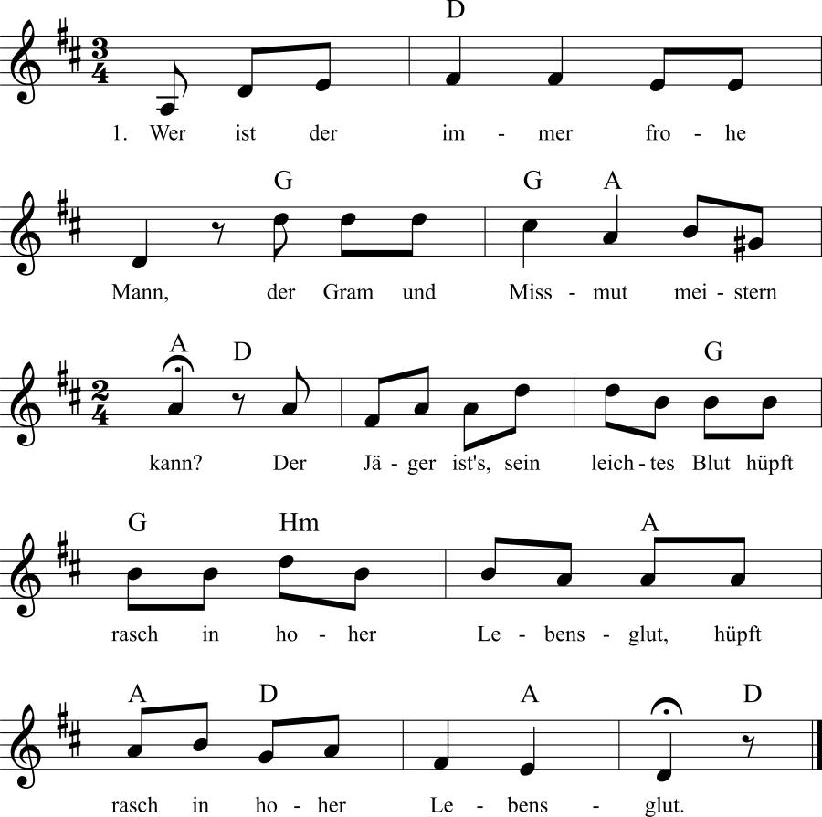 Musiknoten zum Lied Wer ist der immer frohe Mann
