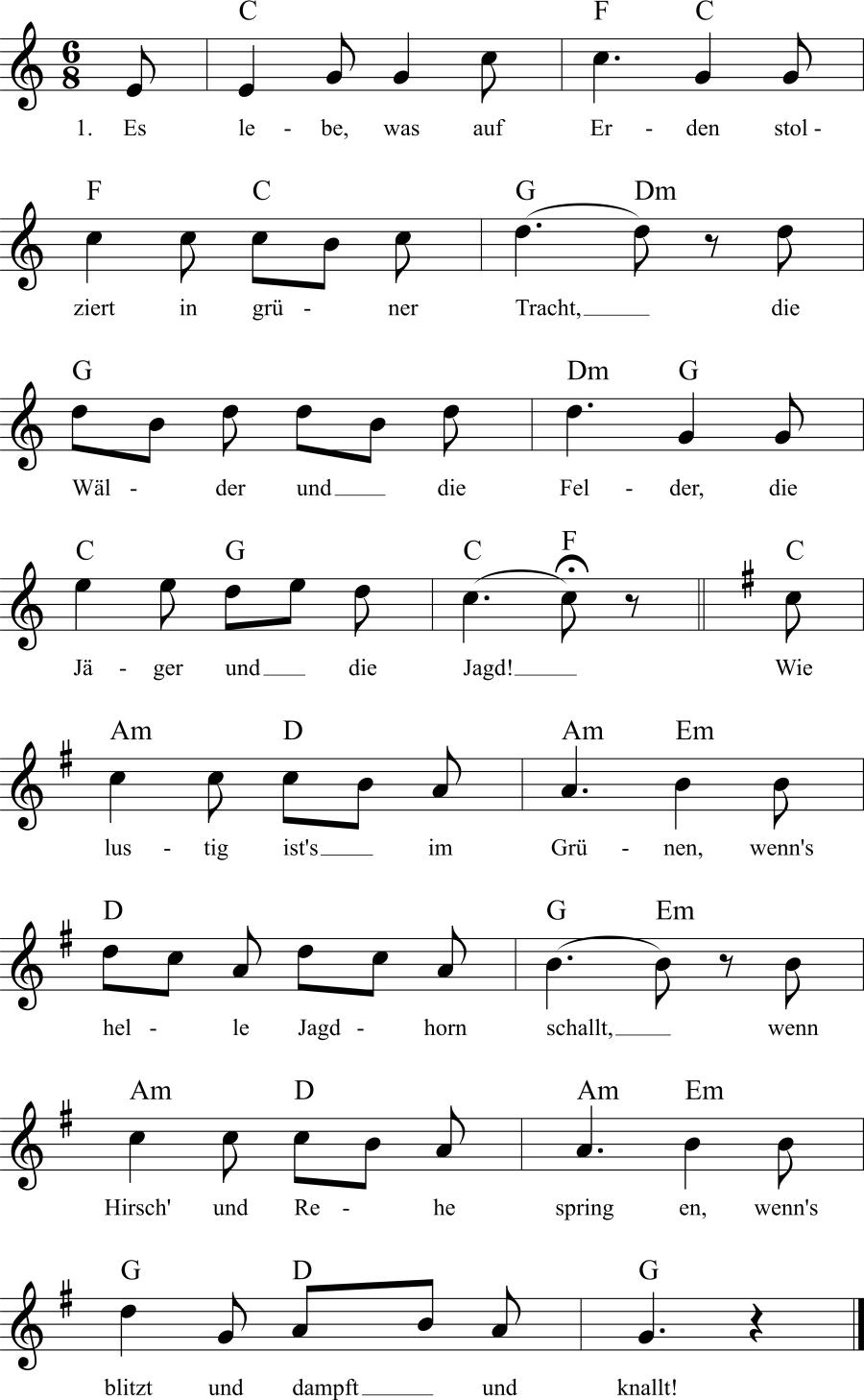 Musiknoten zum Lied Jägers Lust