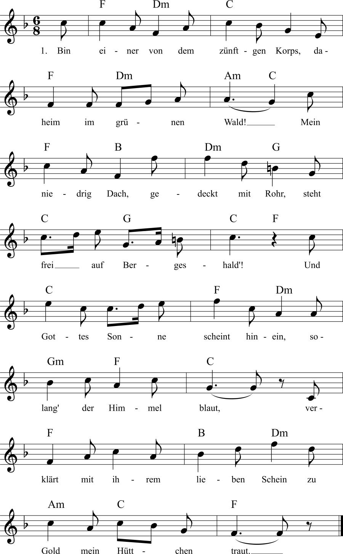 Musiknoten zum Lied Der glückliche Jäger
