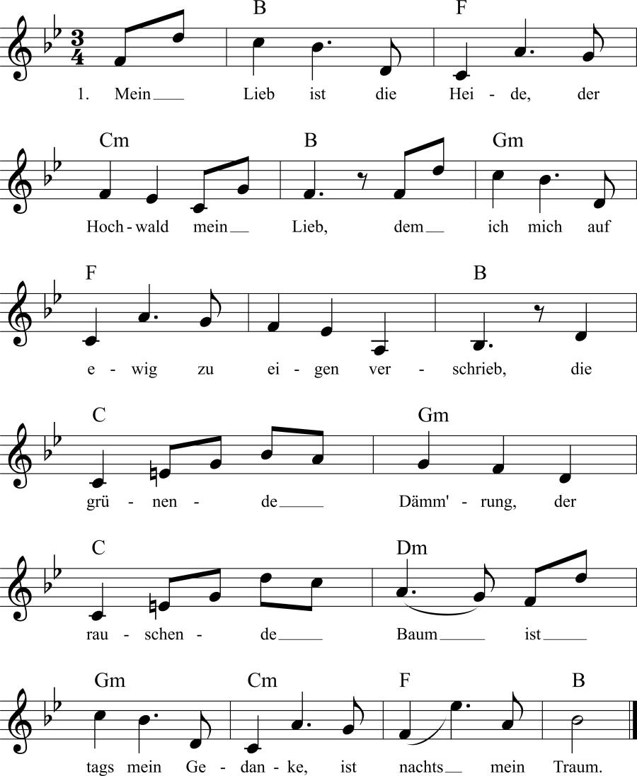 Musiknoten zum Lied Mein Lieb ist die Heide