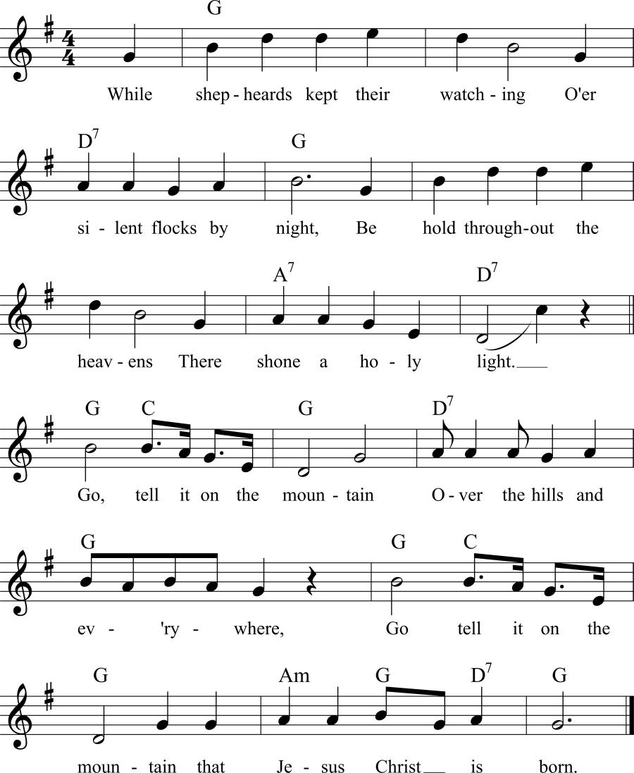 Musiknoten zum Lied Go, Tell It on the Mountain